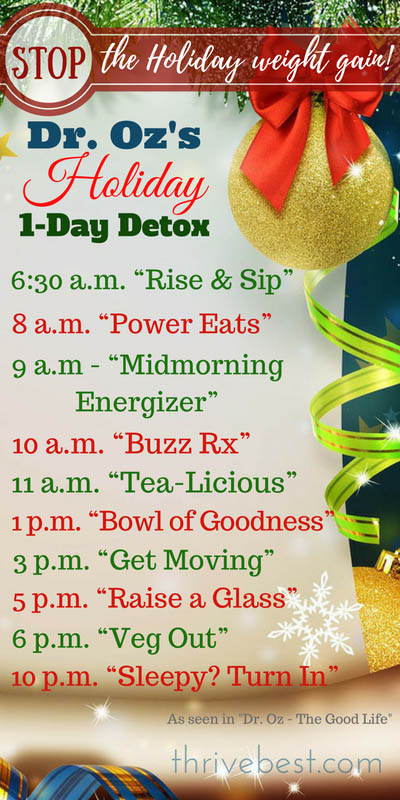 Dr Oz Holiday 1-Day Detox Diet Plan